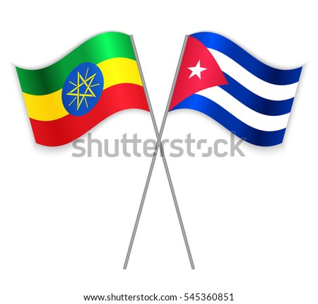 Ethiopian and Cuban crossed flags. Ethiopia combined with Cuba isolated on white. Language learning, international business or travel concept.