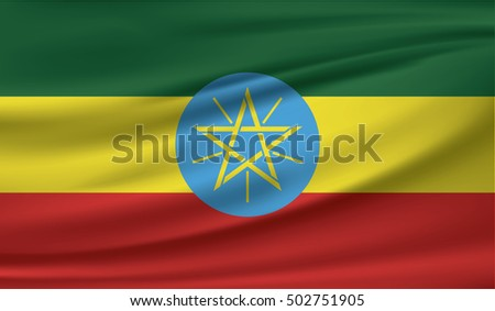 Ethiopian flag blowing in the wind. Part of a series.