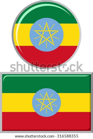 Ethiopian round and square icon flag. Vector illustration Eps 8.