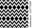 Ethnic abstract geometric pattern in black and white, vector - stock vector