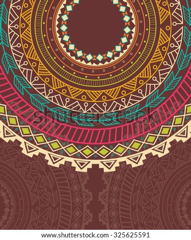 Ethnic Aztec circle ornament, vector illustration - stock vector