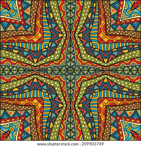 Ethnic background. Geometric square pattern. Abstract symmetric tribal ornament. Fancy multicolored texture. Arabic style carpet pattern. Vector file is EPS8, all elements are grouped by colors. - stock vector