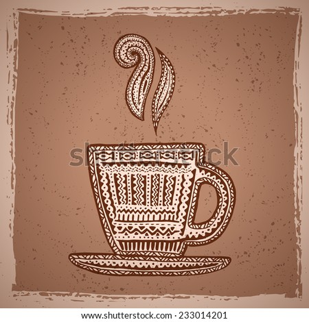 Ethnic background with hand drawn coffee cup for your own design - stock vector