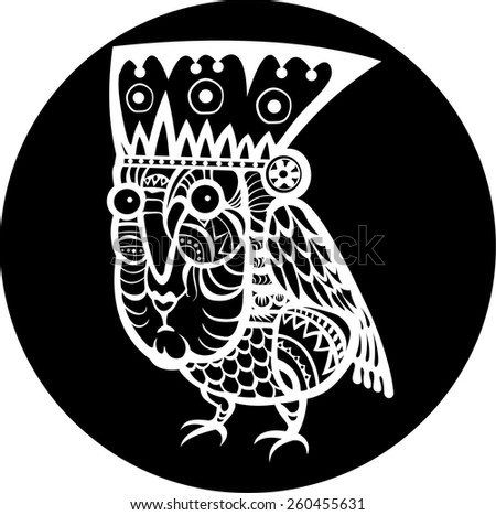 Ethnic bird with woman face totem hand drawn sketch decorative element isolated. Black and white style. Vector illustration. Tiki mask - stock vector
