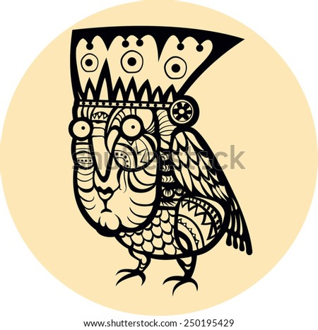 Ethnic bird with woman face totem hand drawn sketch decorative element isolated. Vector illustration. Tiki mask - stock vector