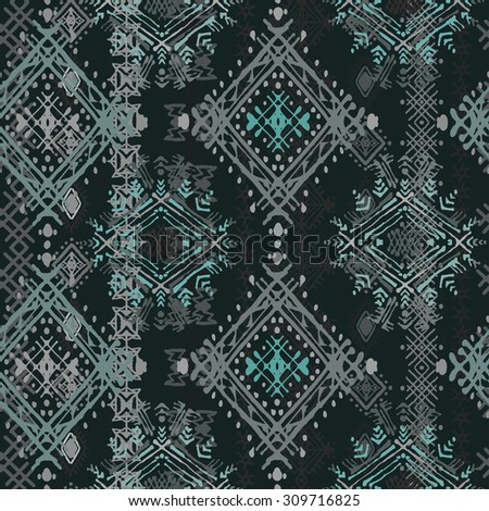Ethnic boho seamless pattern. Ethno ornament. Tribal art repeating background. Cloth design, wallpaper, wrapping - stock vector