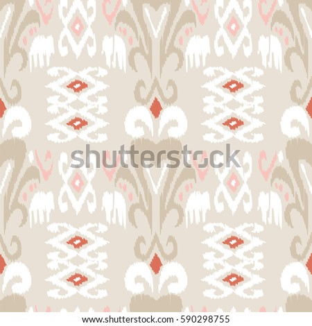 Ethnic Boho Seamless Pattern Ikat Print Repeating Background Cloth Design Wallpaper