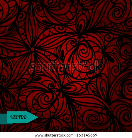 Ethnic bright background with floral pattern.Red and black.Flowers.Grunge texture.Gradient.Vibrant color - vector - stock vector