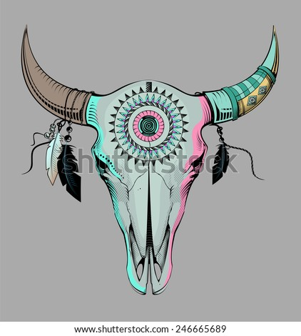 ethnic bull skull  - stock vector