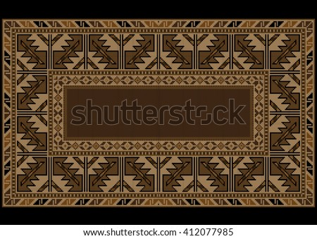 Ethnic carpet with Armenian vintage ornament in brown shades  - stock vector