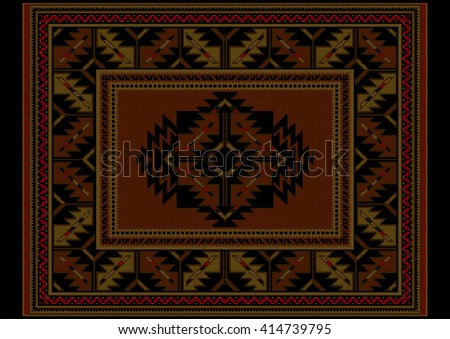 Ethnic carpet with vintage ornament in maroon and brown shades  - stock vector