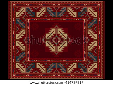 Ethnic carpet with vintage ornament in red and maroon shades  - stock vector