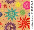Ethnic color ornamental sun with vintage background - stock vector