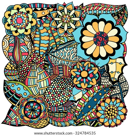 Ethnic colored floral zentangle, doodle background pattern circle in vector. Henna paisley mehndi doodles design tribal design element.  - stock vector