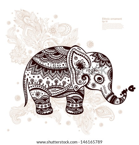 Ethnic elephant illustration can be used as a greeting card  - stock vector