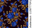 ethnic embroidery blue rose...
