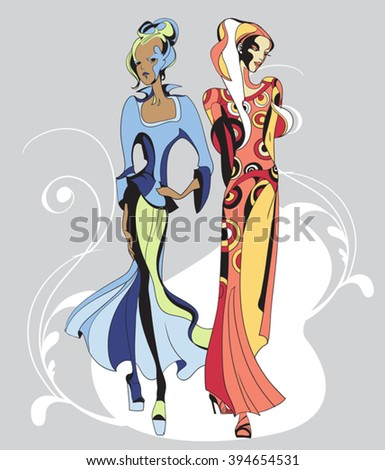 Ethnic fashion models in sketch style.  Hand drawn vector illustration - stock vector