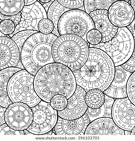 Ethnic floral mandalas, doodle background circles in vector. Seamless pattern. Black and white pattern for coloring book for adults and kids. - stock vector