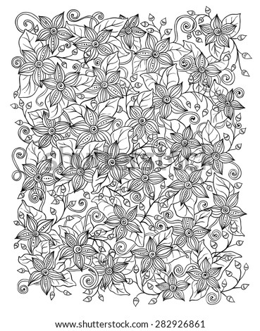 Ethnic floral zentangle, doodle background pattern circle in vector. Henna paisley mehndi doodles design tribal design element. Black and white pattern for coloring book for adults and kids. - stock vector