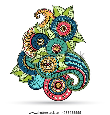 Ethnic floral zentangle, doodle background pattern circle in vector. Henna paisley mehndi doodles design tribal design element.  - stock vector