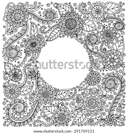 Ethnic floral zentangle, doodle background pattern in vector. Henna paisley mehndi doodles design tribal design element. Black and white pattern for coloring book for adults and kids. - stock vector