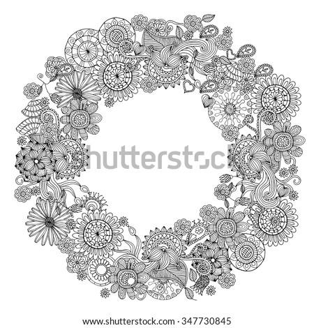 Ethnic floral zentangle, doodle background pattern in vector. Henna paisley mehndi doodles design tribal design element. - stock vector