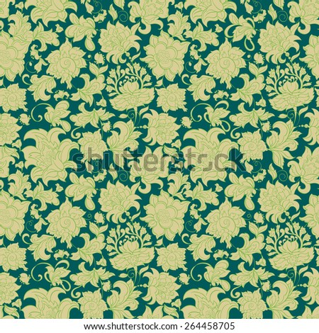 ethnic flowers seamless vector pattern - stock vector