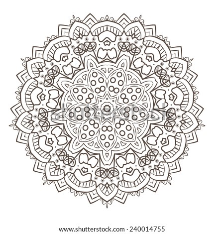Ethnic Fractal Mandala Vector Meditation looks like Snowflake or Flower too Isolated on White - stock vector