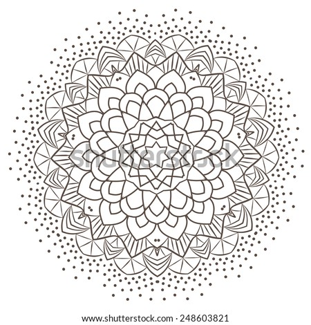 Ethnic Fractal Mandala Vector Meditation looks like Snowflake or Maya Aztec Pattern or Flower too Isolated on White - stock vector