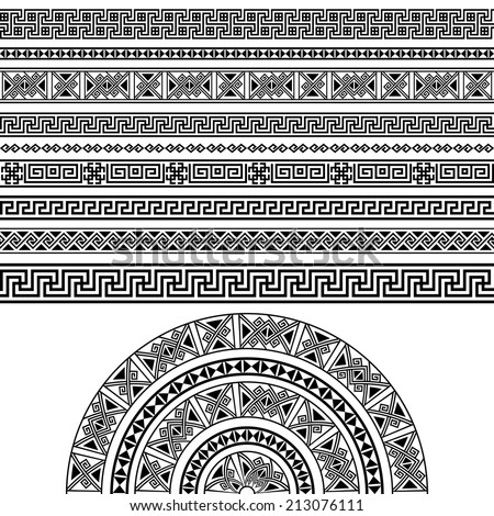 Ethnic geometric design set. sign, border decoration elements in black color isolated on white background. vector illustration. Could be used as divider, frame, etc  - stock vector