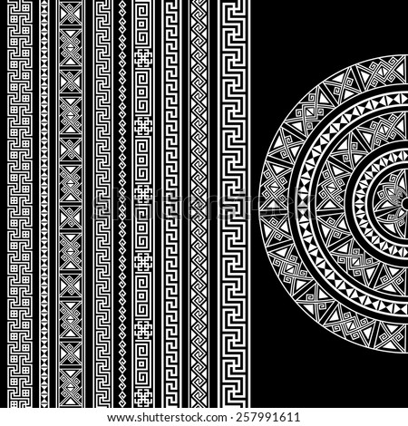 Ethnic geometric design set. sign, border decoration elements in white color isolated on black background. vector illustration. Could be used as divider, frame, etc - stock vector