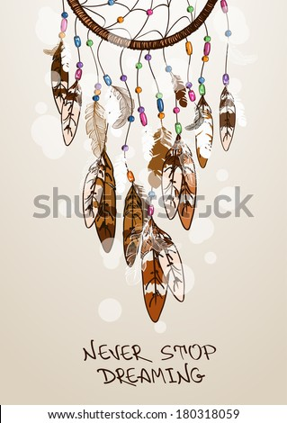 Ethnic illustration with American Indians dreamcatcher - stock vector