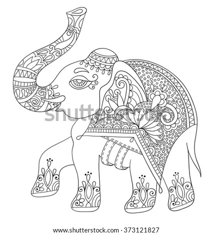 Ethnic indian elephant line original drawing stock vector Coloring books for adults india