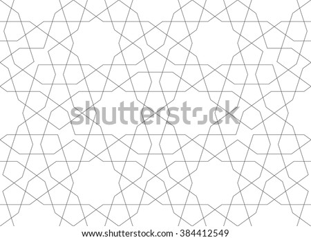 Ethnic line islamic pattern. Seamless vector geometric background in arabian style - stock vector