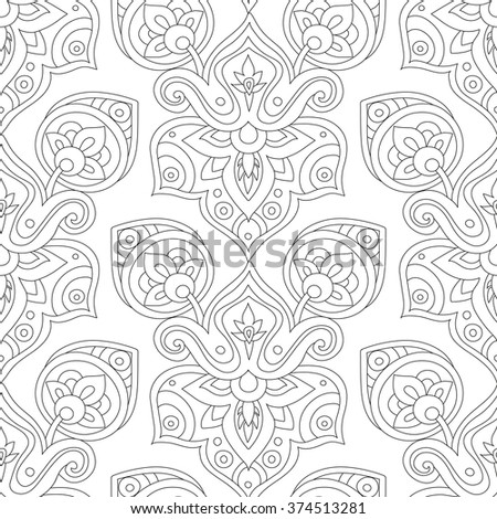 Ethnic line seamless pattern. Boho style vector illustration. Oriental decorative elements. Abstract background.