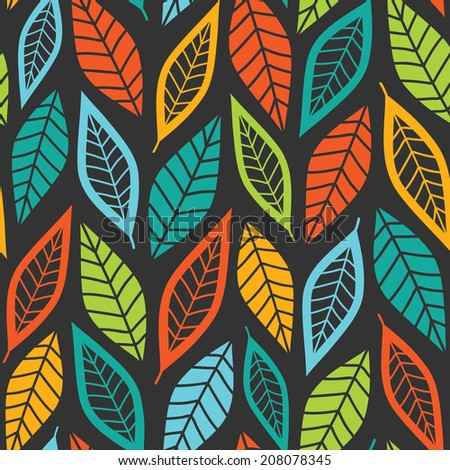 Ethnic Lined Colorful Leaves Abstract Vector Seamless Wallpaper Background Pattern Design
