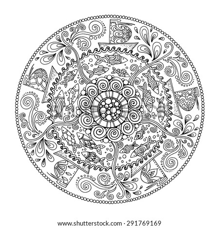 Ethnic mandala with decorative ornament, doodle fishes, wind and ships. - stock vector