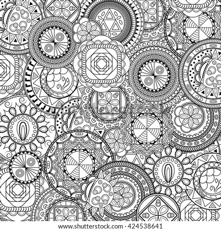 Ethnic mandalas, doodle background circles. Black and white pattern for coloring book for adults and kids