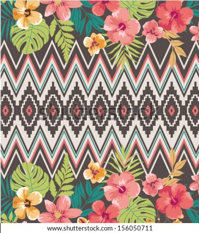 ethnic mix tropical flower vector pattern background - stock vector