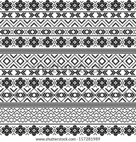Ethnic motifs - pattern in black and white - stock vector