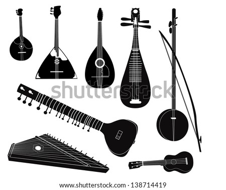 Ethnic music instruments vector set. Musical instrument silhouette on white background. - stock vector
