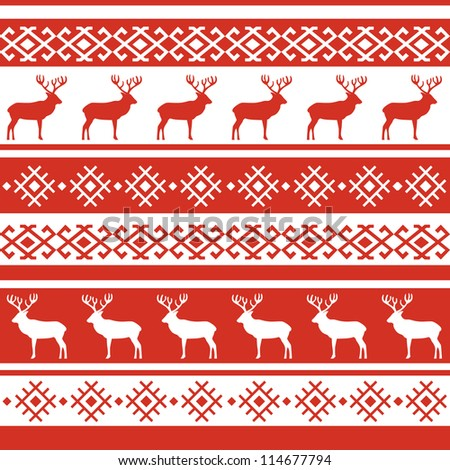 Ethnic Nordic Christmas Seamless Pattern Background Stock Vector ...