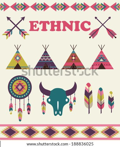 ethnic objects set. vector illustration - stock vector