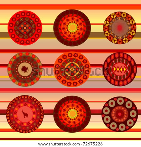 ethnic ornamental background with african motifs - stock vector