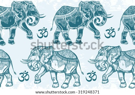 Ethnic ornate seamless pattern with hand drawn elephants and Ohm sign.  Isolated vector illustration. For Hindu, African, Indian, Thai, boho design, spiritual print, wrapping and textiles. - stock vector