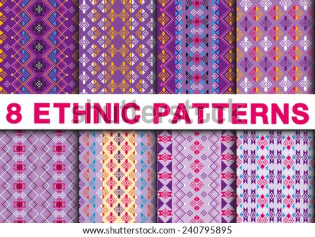 Ethnic pattern background set in colorful, vector illustration  - stock vector