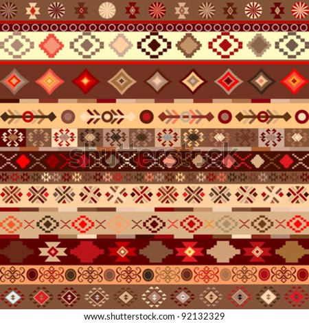 ethnic pattern background with geometrically elements - stock vector