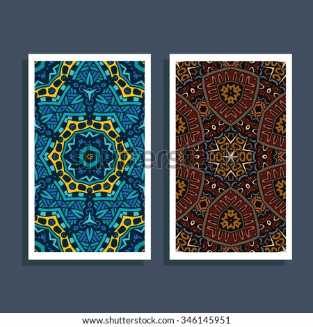 Ethnic pattern card. Tribal art print. Colorful border background texture. Best for Fabric, cloth design, wallpaper, wrapping, identity - stock vector