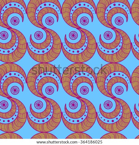 Ethnic pattern with decorative elements on blue background