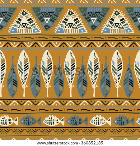Ethnic pattern with feathers on yellow background - stock vector